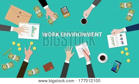 work environment concept discussion illustration with paperworks, money and folder document on top of table vector