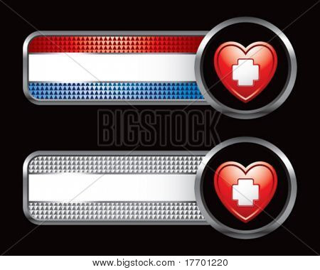 heart with medical cross on red white and blue shiny banners
