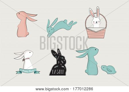 set of cute bunnies and rabbites for easter cards