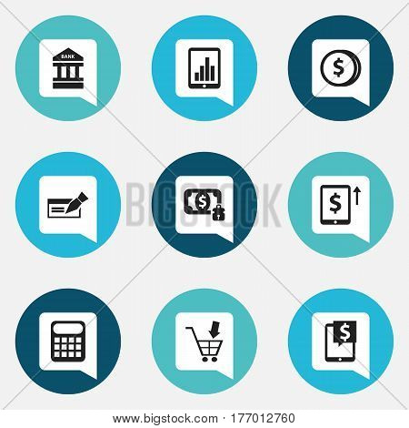 Set Of 9 Editable Banking Icons. Includes Symbols Such As Specie, Bar Graph, Computation Machine And More. Can Be Used For Web, Mobile, UI And Infographic Design.