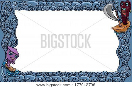Frame for photographs and other images with marine themes.