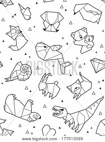 Seamless origami pattern with ink animals and triangles. Paper bear, cat, owl, whale, dinosaur, koala. Geometric background in black and white colors. Coloring book page design for adults and kids