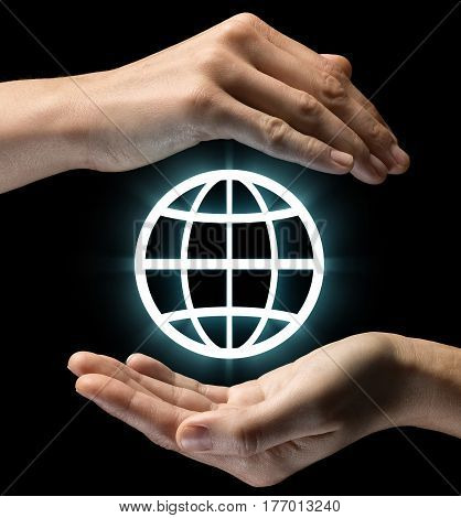 Isolated image of two hands on black background. Earth icon in the center as a symbol of protection of natural resources ecology. Concept of protection of natural resources ecology.