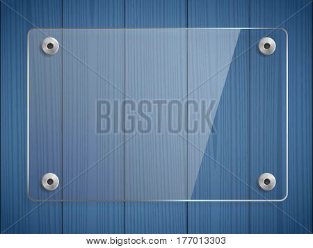 Transparent glass plate mock up. Blue wooden background. See through plastic banner mounts. Graphic design element. Decorative panel with reflection and shadow. Photo realistic vector illustration