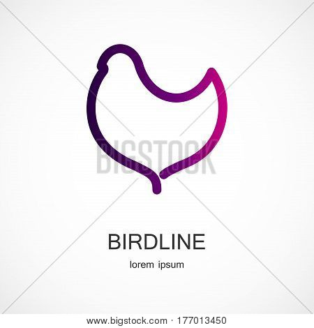 Vector illustration of a bird symbol on grey background
