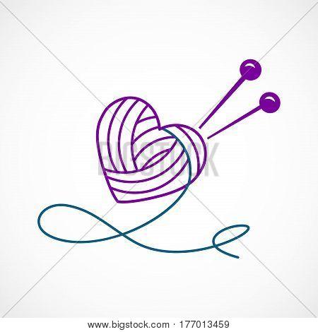Vector illustration of a Knitting Vector Heart