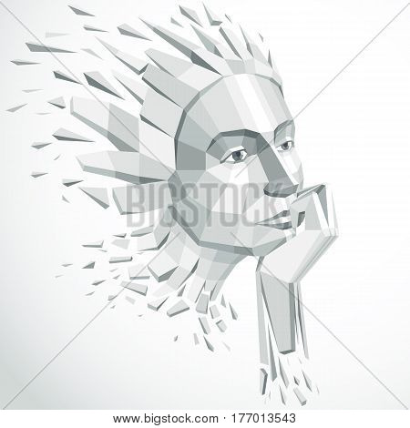 3d vector illustration of human head created in low poly style. Face of pensive female smart personality. Intelligence allegory artistic deformed object broken into splinters and fragments.