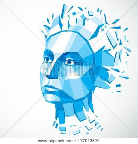 Vector dimensional low poly female portrait blue graphic illustration of human head broken into fragments. 3d demolished object created with fractures and different particles.