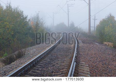 Fog on the railway trees on both sides