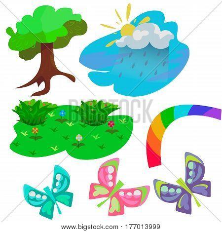 Childish bright nature illustrations set isolated on the white background