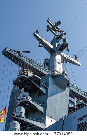 Mast military Corvette on blue sky background