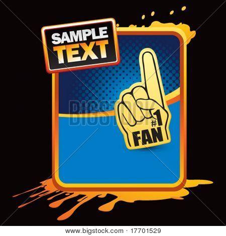 fan hand on orange splatter banner