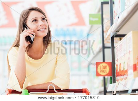 Woman Phone Calling At The Store