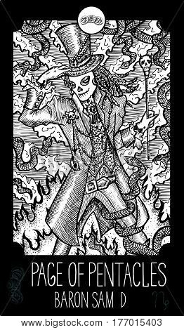 Page of pentacles. Baron Samedi. Minor Arcana Tarot card. Fantasy line art illustration. Engraved vector drawing. See all collection in my portfolio set