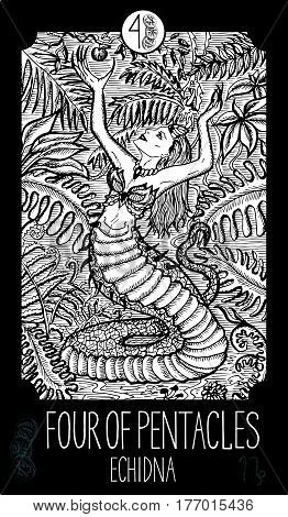 Four of pentacles. Echidna. Minor Arcana Tarot card. Fantasy line art illustration. Engraved vector drawing. See all collection in my portfolio set