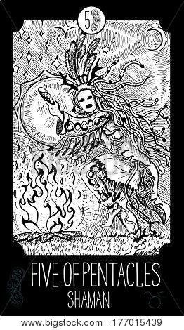 Five of pentacles. Shaman. Minor Arcana Tarot card. Fantasy line art illustration. Engraved vector drawing. See all collection in my portfolio set