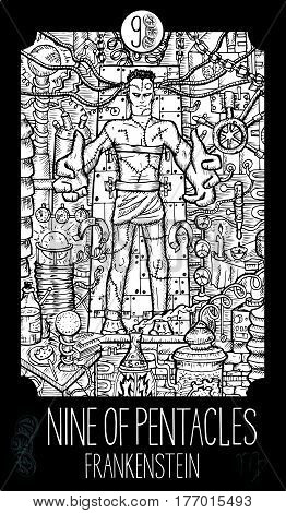 Nine of pentacles. Laboratory monster. Minor Arcana Tarot card. Fantasy line art illustration. Engraved vector drawing. See all collection in my portfolio set