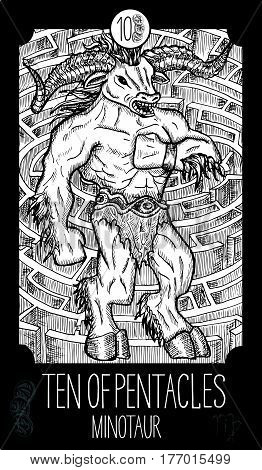 Ten of pentacles. Minotaur. Minor Arcana Tarot card. Fantasy line art illustration. Engraved vector drawing. See all collection in my portfolio set