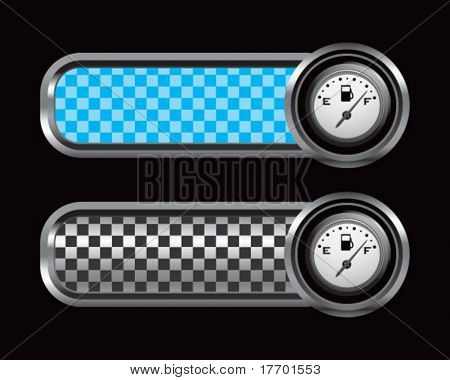 gas gauge on blue and black checkered tabs