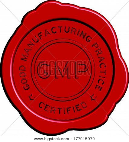Red GMP (Good manufacturing practice) round wax seal on white background