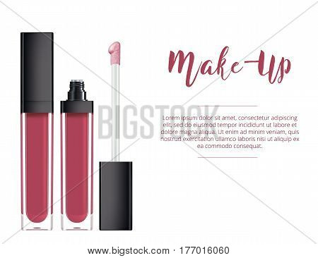 Lip gloss in elegant glass bottle with black lid, closed and open container with brush, isolated on white background. Liquid lipstick