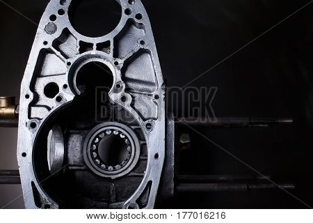 disassembled opposing chopper engine with copyspace background