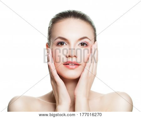 Perfect Spa Model Woman with Healthy Skin Isolated. Spa Beauty Skin Care and Cosmetology Concept