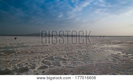 Salt Lake Karum aka Lake Assale or Asale at sunset Danakil Afar Ethiopia