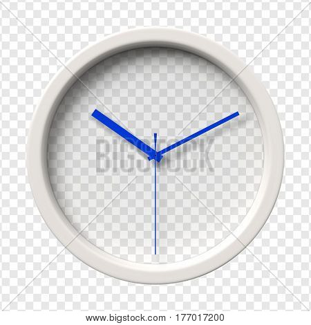 Realistic Wall Clock. Ten oclock am or pm. Transparent face. Blue hands. Ready to apply. Graphic element for documents templates posters flyers. Vector illustration