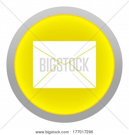 yellow Mail Button Isolated on white Background