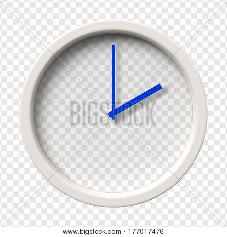 Realistic Wall Clock. Two oclock am or pm. Transparent face. Blue hands. Ready to apply. Graphic element for documents templates posters flyers. Vector illustration.