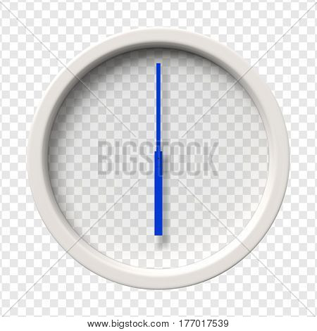 Realistic Wall Clock. Six oclock am or pm. Transparent face. Blue hands. Ready to apply. Graphic element for documents templates posters flyers. Vector illustration.