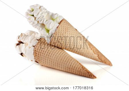 two cones of ice creams with chocolate isolated on white background.