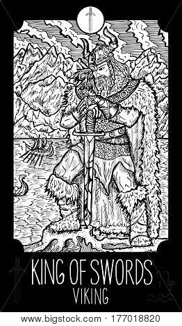 King of swords. Viking. Minor Arcana Tarot card. Fantasy line art illustration. Engraved vector drawing. See all collection in my portfolio set