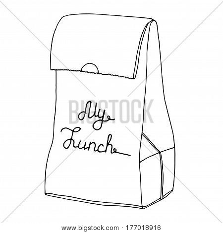 My lunch. Food bag, Lunch bag, lunchbox. Hand drawn artisitc illusration.Vector line art object.