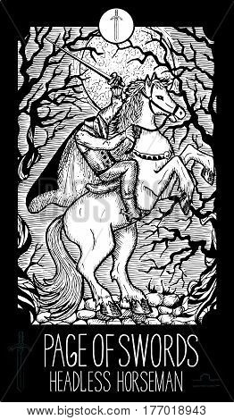 Page of swords. Headless horseman. Minor Arcana Tarot card. Fantasy line art illustration. Engraved vector drawing. See all collection in my portfolio set
