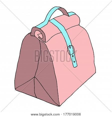 Handbag with lock and strap. Leather ladies bag. Hand drawn realistic fashion sketch. Vector illustration
