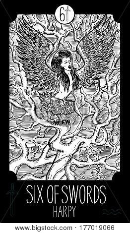 Six of swords. Harpy. Minor Arcana Tarot card. Fantasy line art illustration. Engraved vector drawing. See all collection in my portfolio set