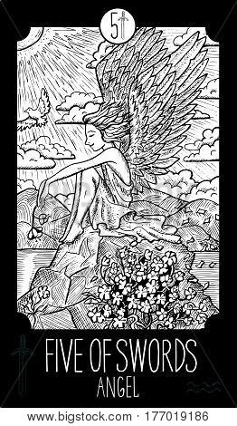 Five of swords. Angel. Minor Arcana Tarot card. Fantasy line art illustration. Engraved vector drawing. See all collection in my portfolio set