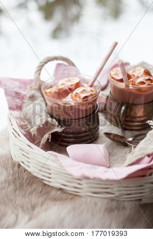 Hot Chocolate with pink roasted marshmallows