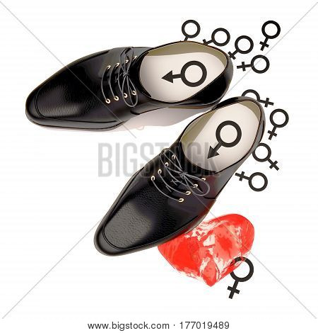 Abstract concept of black shoes located in woman's heart and females signs. Isolated on white. 3D illustration