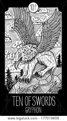 Ten of swords. Gryphon. Minor Arcana Tarot card. Fantasy line art illustration. Engraved vector drawing. See all collection in my portfolio set