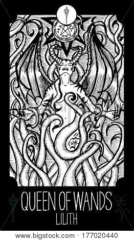 Queen of wands. Lilith. Minor Arcana Tarot card. Fantasy line art illustration. Engraved vector drawing. See all collection in my portfolio set