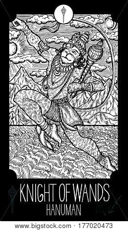 Knight of wands. Hanuman. Minor Arcana Tarot card. Fantasy line art illustration. Engraved vector drawing. See all collection in my portfolio set