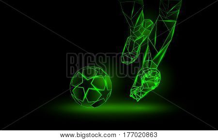 Soccer green neon background. Polygonal Football Kickoff illustration. Legs and soccer ball.