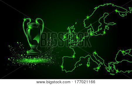 Champions Cup with a linear map. Green Neon style sports background.