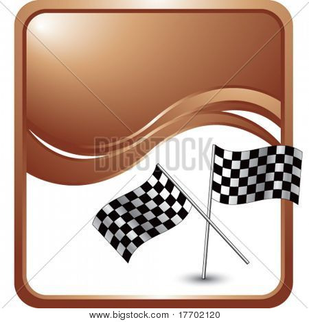 racing flags on modern wave background
