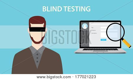 blind test testing illustration with a notebook , magnifying glass and man using eye cover vector