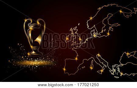 Champions Cup with a linear map. Metallic Golden Soccer trophy.