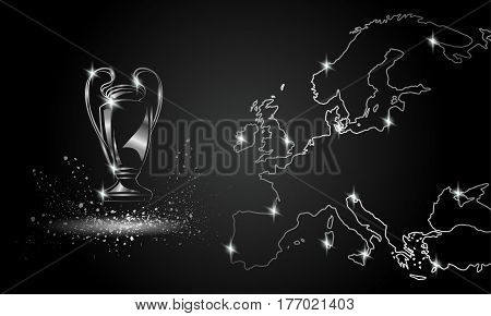Champions Cup with a linear map. Metallic Chromed Soccer trophy.